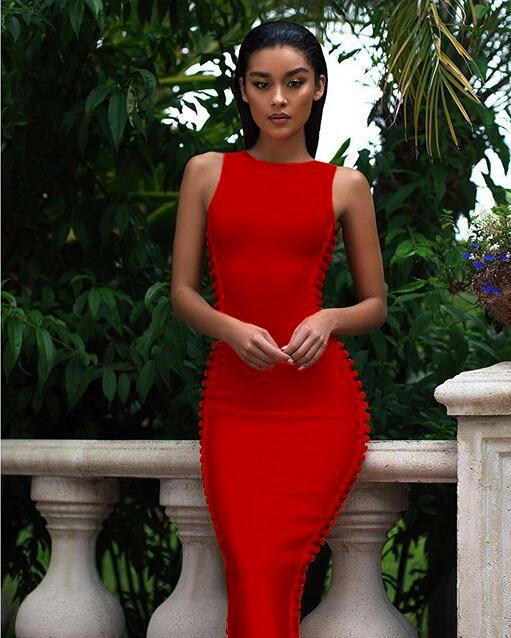 Martinique Side Wave Bandage Midi Dress in Red - Kissmiss Ireland