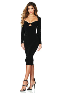 Flirt Long Sleeve Bandage Midi Dress With Keyhole Cutout