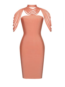 Teresa Honey Removable Collar Strapless Bandage Dress (presale) - kissmissdresses