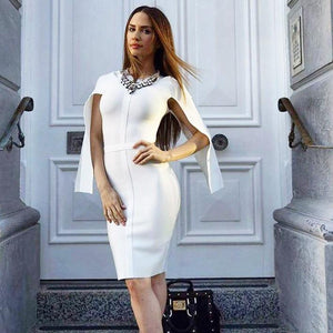 Flared Sleeve White Celebrity Bodycon Bandage Dress