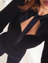 Cutout Backless Strappy Long Sleeve Bandage Jumpsuit - kissmissdresses