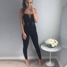 Sexy V Neck Sequined Bandage Jumpsuit 2017 - kissmissdresses