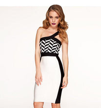 Slash Neck One Shoulder Black and White Bandage Dress - kissmissdresses