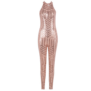 Sexy Backless Sequined Celebrity Bandage Bodycon Jumpsuit