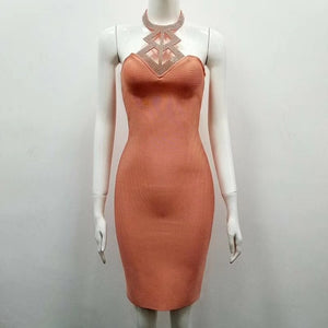 Sexy Halter Encrusted Bandage Dress Nightclub Wear