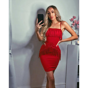 2018 Diva Vibes Spaghetti Strap Bandage Tassel Dress Party Dress
