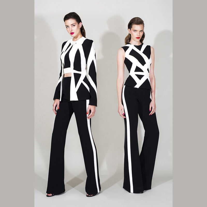 2018 black and white bandage two piece sets - kissmissdresses