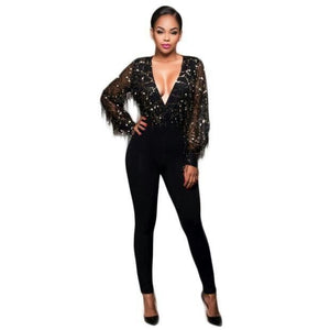 2018 v neck long sleeve sequined bandage jumpsuit - kissmissdresses