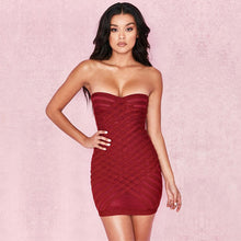 Wine Red Off Shoulder Strapless Mesh Cross Weave Bandage Dress - kissmissdresses
