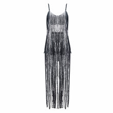 Grey spaghetti strap fringe summer party dress - kissmissdresses