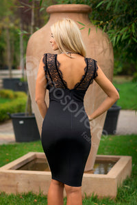 Deep V Neck Black Lace Bandage Bodycon Dress - kissmissdresses