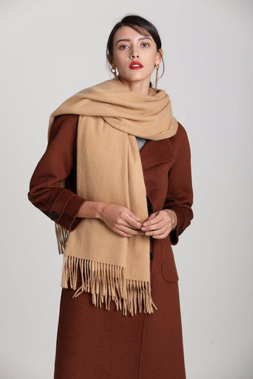 100% Cashmere Blanket Scarf - Camel - MINIMO