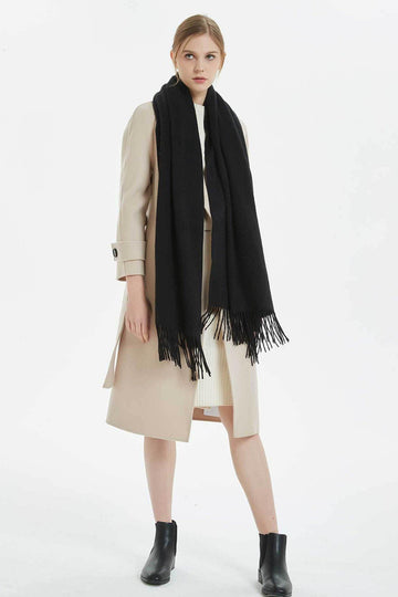 100% Cashmere Blanket Scarf - Black - MINIMO
