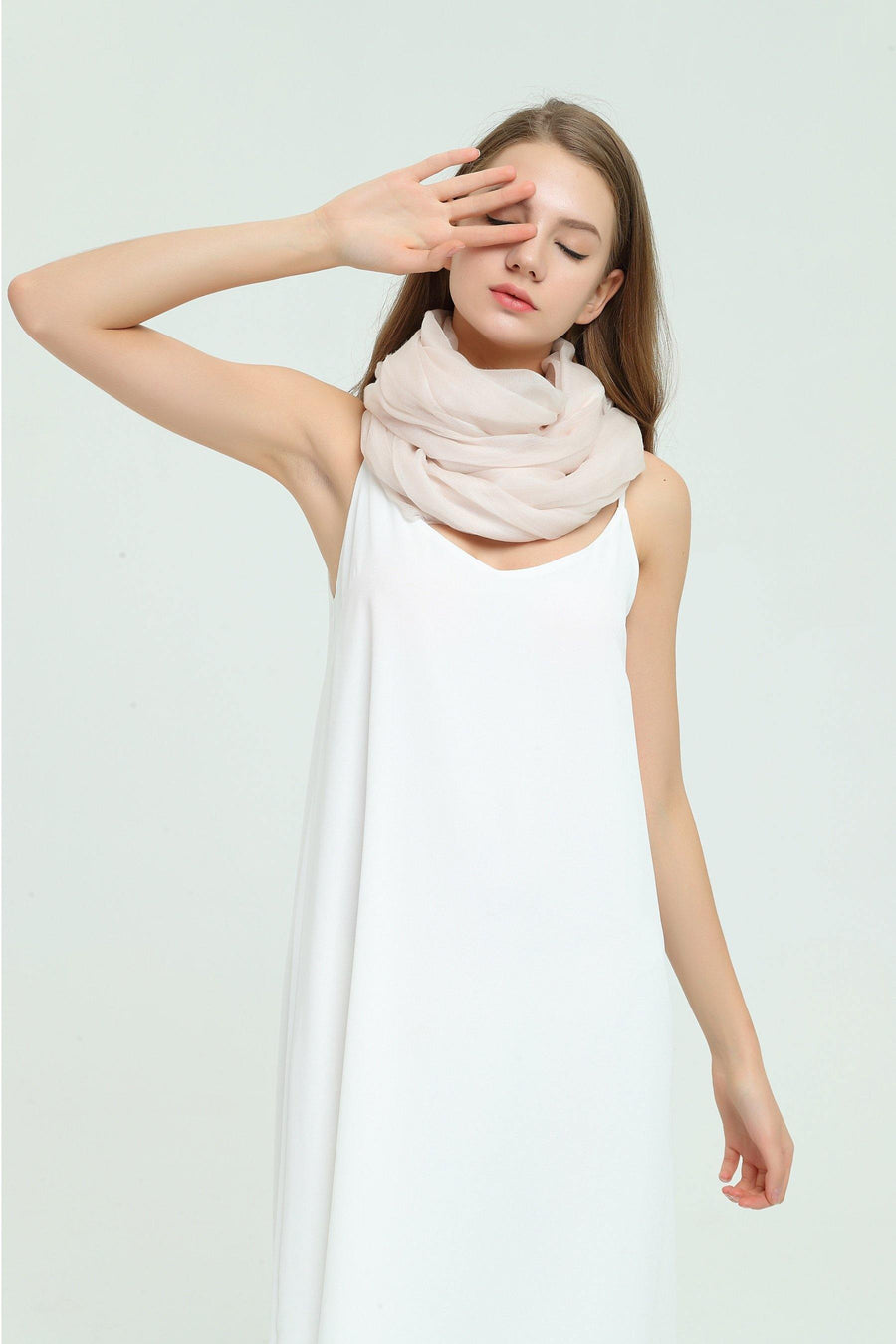 100% Cashmere Featherlight Scarf - Light Pink - MINIMO