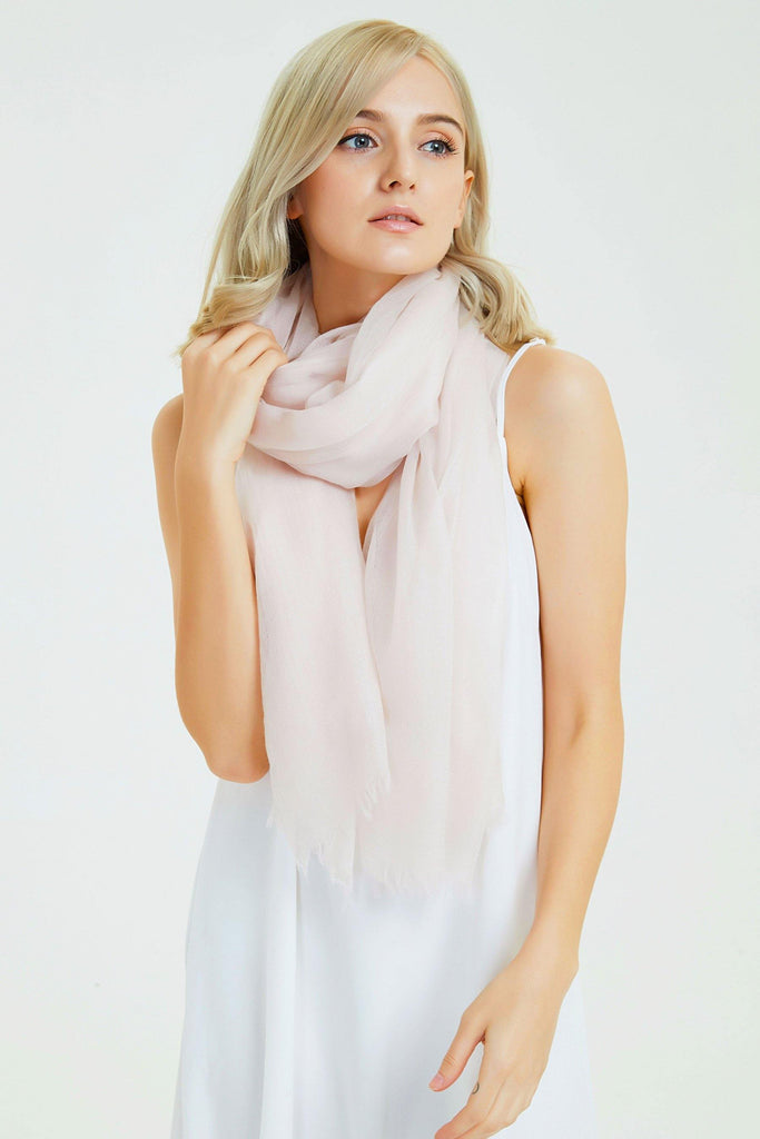 100% Cashmere Featherlight Scarf - Light Pink