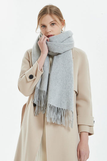100% Cashmere Blanket Scarf - Light Gray - MINIMO