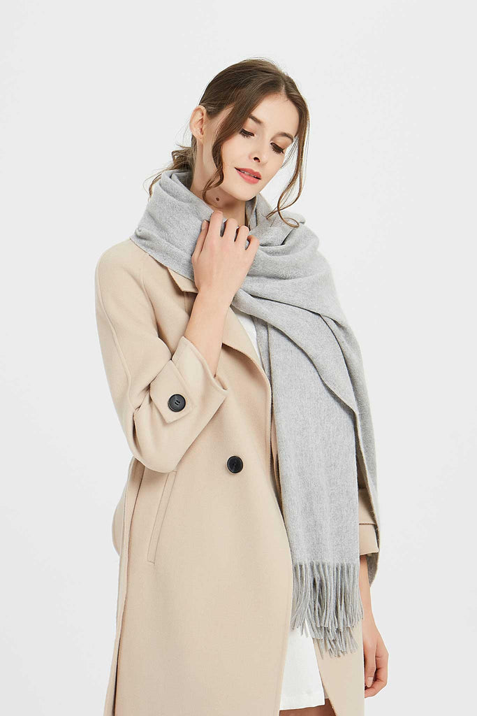 100% Cashmere Blanket Scarf - Light Gray
