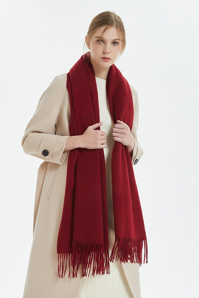 100% Cashmere Blanket Scarf - Red
