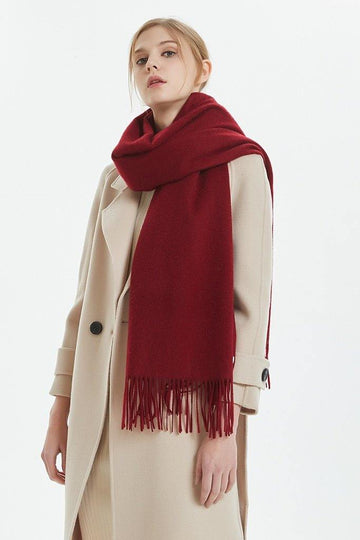 100% Cashmere Blanket Scarf - Red - MINIMO