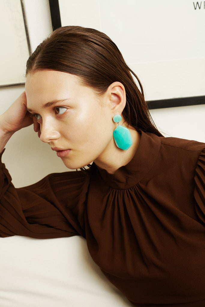 Natalia Earrings in Aqua
