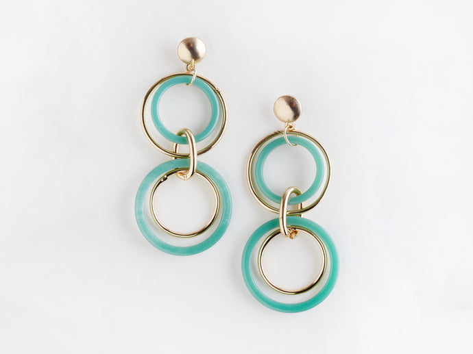 Trio Earrings in Aqua