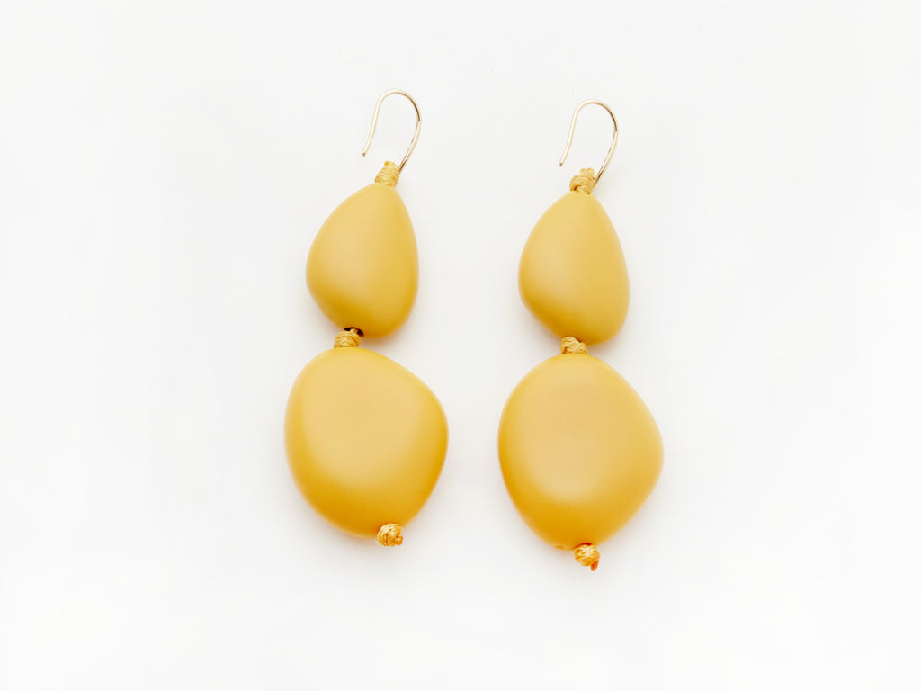 Pebble Earrings in Mustard