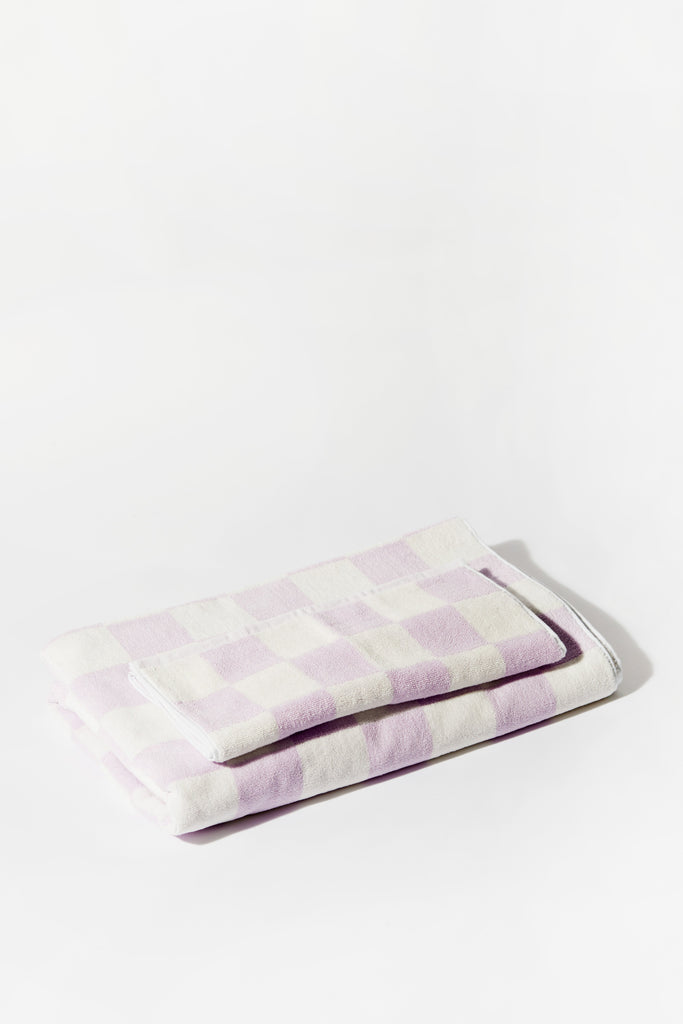 Towel Set Big Check Lilac