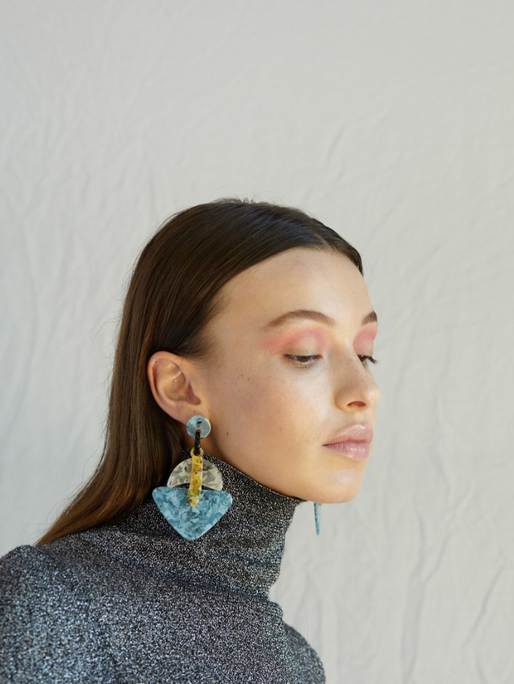 Ebony Earrings in Blue