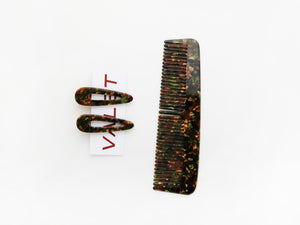 Willa Comb and Kelly Clip Set Chocolate Marble