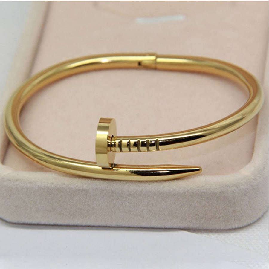 nail gold women for bangle buy screw jewelry plated cuff bracelet men bangles