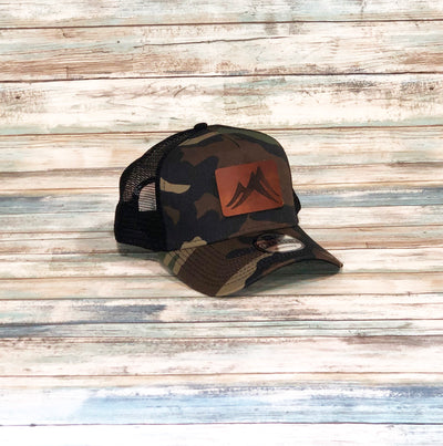 Custom Snapback Trucker Cap with leather patch