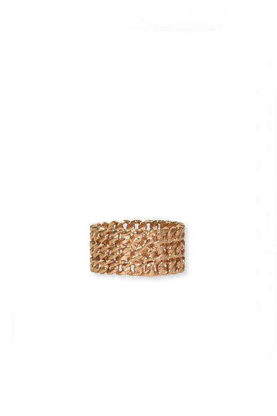 Pink Sand Chain Ring - Gold