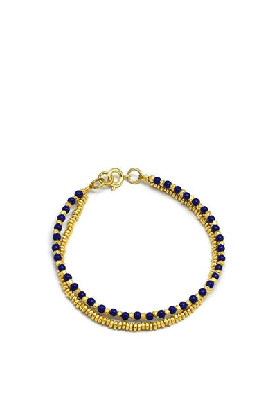 Husk Blue-Beaded Bracelet