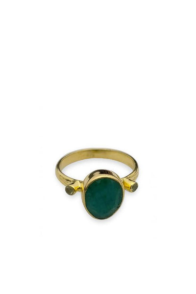 Husk Stud Ring - Emerald