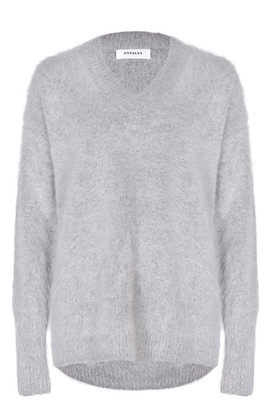 Antalya V-Neck Knit - Grey