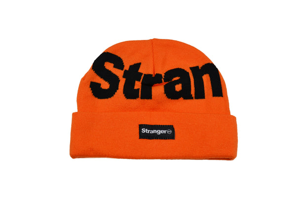 Big NY Spellout Jacquard Knit Beanie Orange