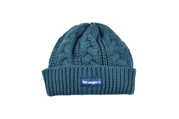 Cable Knit Woven Label Beanie Slate Blue