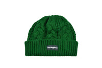 Cable Knit Woven Label Beanie Green
