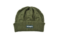 Cable Knit Woven Label Beanie Olive