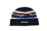 Striped Spellout Jacquard Knit Beanie Black/Blue