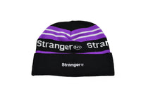 Striped Spellout Jacquard Knit Beanie Purple/Black