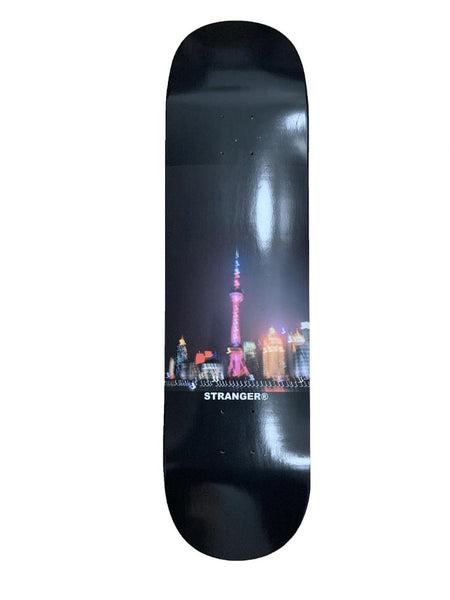 Stranger New York City Shanghai Skateboard Deck features shanghai's Bund skyline on a black skateboard background.