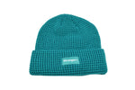 Waffle Knit Woven Label Beanie Turquoise