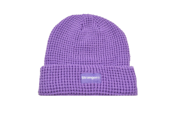 Waffle Knit Woven Label Beanie Lilac