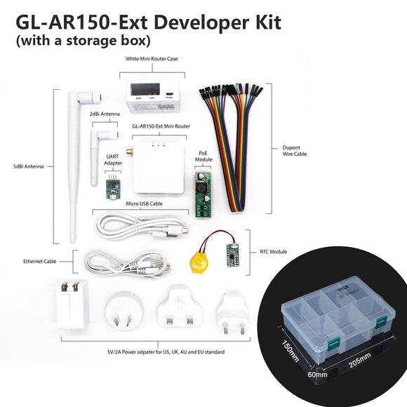 Developer Kit Set for GL-AR150-Ext Mini Router - OpenWrt LEDE Tor WiFi converter repeater bridge OpenVPN travel privacy , Accessories - mini smart travel wireless router for privacy, GL.iNet - GL.iNet
