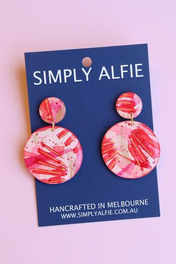 Simply Alfie Earrings Red/White/Gold