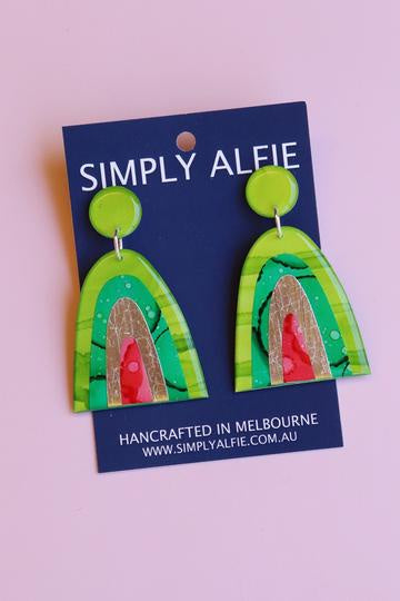 Simply Alfie Dangle Earrings Green