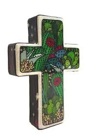 Small Cross Woodblock Wall Art - Cactus