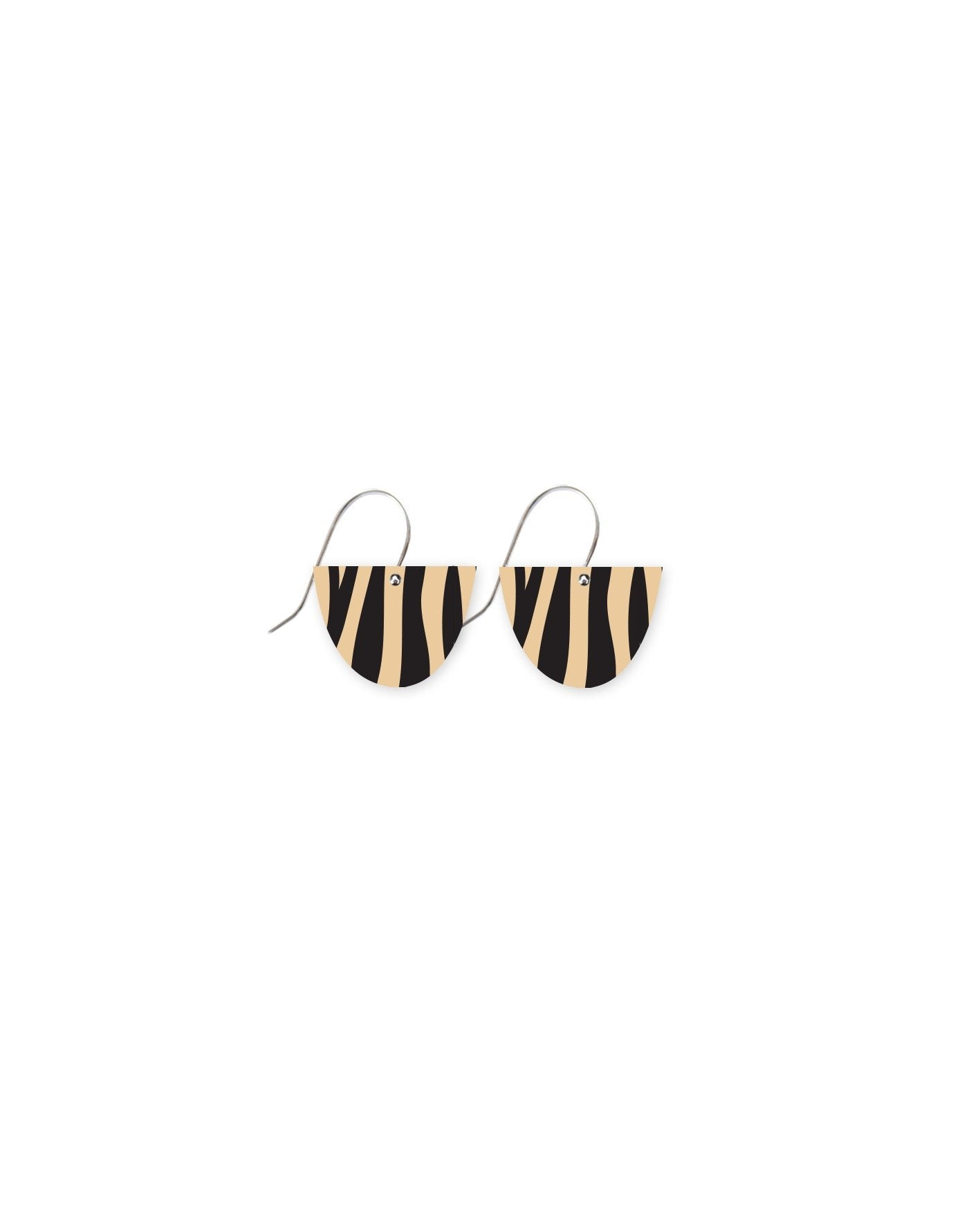 Creme Animal Print Small Bell Drop Earrings