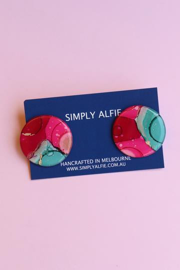 Simply Alfie Statement Studs Pink/Green